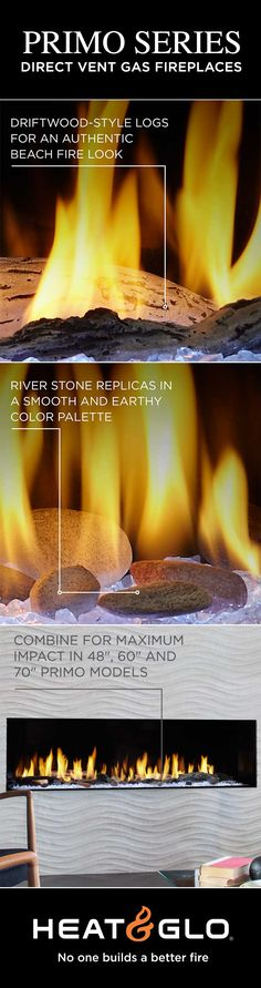 New media options available for Heat & Glo's Primo gas fireplaces. Driftwood-style logs create an authentic beach fire look and river rock stones replicate smooth stones found in North American rivers. Combine both for maximum impact! Indoor Gas Fireplace, Linear Fireplace, Gas Fireplaces, River Rock Stone, Contemporary Fireplaces, Direct Vent Gas Fireplace, Gas Insert, People Running, Minimalist Decor