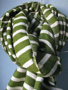 Scarf Men Women Cotton Wool  Olive Green and white by Bellabisinia, $40.00