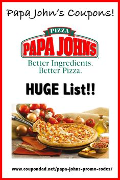 Papa John's Coupons!   Always current and up to date with the latest codes.  #papajohns #pizza