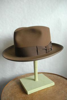 c9e15cf40f8 Rare Vintage Scott Ltd Hatters NY Custom Brown Fur Felt Fedora Hat UK 7 US 7  1 8