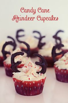 Candy Cane Cupcakes with Chocolate Pretzel Reindeer Antlers!