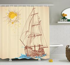 East Urban Home Sailing Boat Nautical Decor Shower Curtain Hooks Size: 69 H x 84 W Nautical Shower Curtains, Bird Shower Curtain, Tree Shower Curtains, Shower Curtain Sizes, Wood Box Centerpiece, Love Wood Sign, Christmas Bathroom Decor, Nautical Pattern, Shower Liner