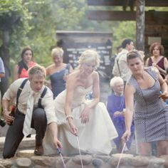 The bride, groom, and a guest roasted their marshmellows while sharing memorable moments from the ceremony and reception. Photo Credit: Stephanie Horwedel Photography