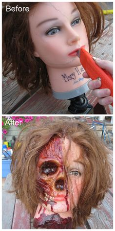 DIY Cosmetology Head Ghoulish Restyle Tutorial from Bascombe Mania. This is an extremely detailed tutorial of how to take a rubber/plastic head, insert a skull and come up with this scary creation. You could probably do this on rubber head dolls with...