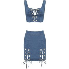 Princess Denim Tied Eyelet Crop Top Skirt Co-Ord (479.830 IDR) ❤ liked on Polyvore featuring blue