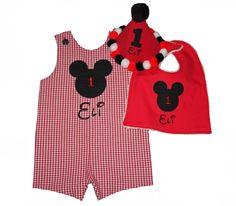 Reversible Mickey Mouse Birthday Shortall, Hat & Bib