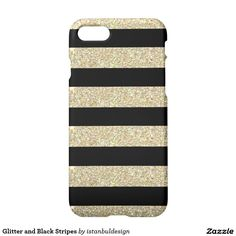 Glitter and Black Stripes iPhone 7 Case