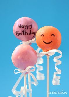 Pint Sized Baker: Happy Birthday Balloon Cake Pops + Giveaway
