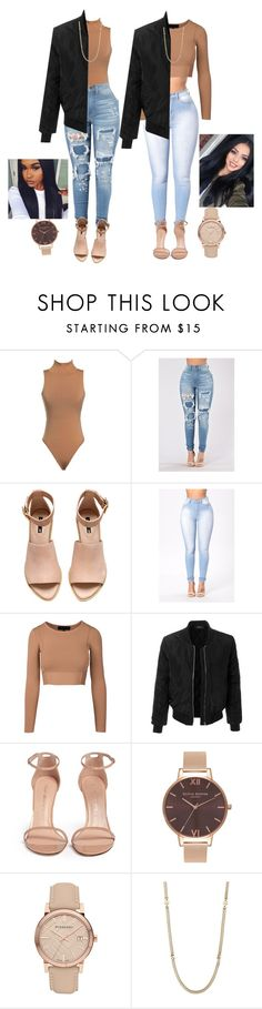 """best friends."" by brionce ❤ liked on Polyvore featuring H&M, LE3NO, Stuart Weitzman, Olivia Burton, Burberry and Napier"