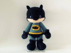 Amigurumi Free Pattern Batman Amigurumi by Tales of Twisted Fibers. Bet I could change the colors and make an adorbs little Wolverine too.Batman Amigurumi by Tales of Twisted Fibers. Bet I could change the colors and make an adorbs little Wolverine too. Batman Amigurumi, Amigurumi Free, Crochet Amigurumi, Amigurumi Patterns, Amigurumi Doll, Crochet Dolls, Crochet Patterns, Crochet Gifts, Cute Crochet