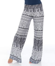 Love this White Mark White & Gray Geometric Stripe Palazzo Pants by White Mark on #zulily! #zulilyfinds