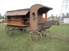 According to the seller on eBay, the book wagon dates to the 1920s and was on display in Vancouver, British Columbia for the 1986 World Expo. Mary L. Titcomb, the Librarian of the Washington County Free Library, sent out the first book wagon in the United States in Hagerstown, Maryland in April, 1905. Titcomb designed the book wagon which had space for 200 books on the outside of the wagon and storage space for more books on the inside.