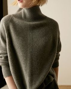 2018 Autumn Winter Cashmere Sweater Women'S High-Necked Pullover Loose Thick Sweater Short Paragraph Knit Shirt Dark Grey S Knitwear Fashion, Knit Fashion, Look Fashion, Autumn Fashion, Sweater And Shorts, Knit Shirt, Cashmere Wool, Cashmere Sweaters, Thick Sweaters