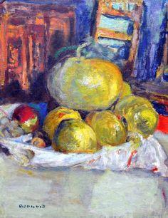 유 Still Life Brushstrokes 유 Nature Morte Painting by Pierre Bonnard | Still Life with Fruits, 1925
