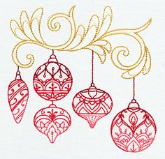 """Delicate December - Ornaments"" Give Christmas decor a unique and lovely look with these ornaments inspired by traditional henna motifs! - UT7260 (Machine Embroidery) 00595187-1217131036-8"
