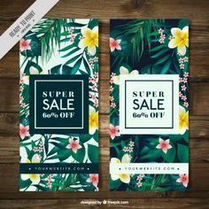 Banners de rebajas de vegetación tropical