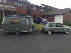 Mini with Eriba Puck caravan