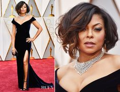 Taraji P. Henson made a striking turn down the 2017 Oscars on Sunday (February 26) in Hollywood, California. Fierce took on new meaning with her midnight-s