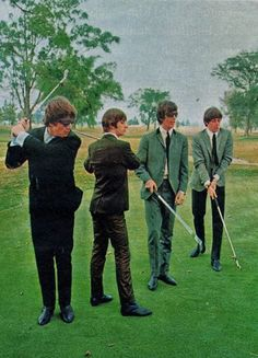 The Beatles, 1964 photo taken at Indianapolis Motor Speedway golf course.