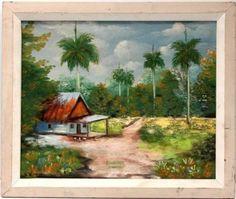 R. Martinez Cuban Landscape Painting Oil on Canvas Original Artwork Signed Dated