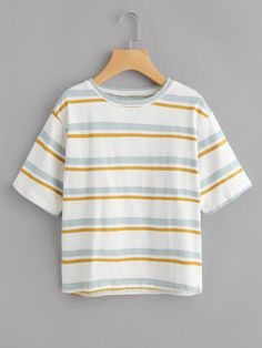 Contrast Striped Tee -SheIn(Sheinside)