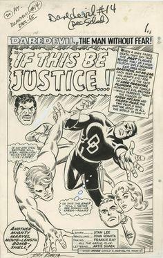DAREDEVIL #14 PAGE 1 TITLE SPLASH (1966, John Romita & Frankie Ray)
