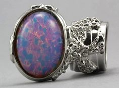 Arty Oval Opal Ring Vintage Milky Glass Chunky Armor Silver Knuckle Art Statement Deco Size 7