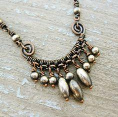 Antiqued Copper and Silver Dangles wire di BearRunOriginals
