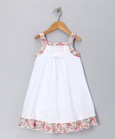 Again, not really the Frannie pattern, but a similar theme. Take a look at this White & Pink Floral Candy Dress - Infant, Toddler & Girls by Alouette on today! Little Girl Outfits, Little Dresses, Little Girl Dresses, Vintage Girls Dresses, Toddler Dress, Toddler Outfits, Kids Outfits, Infant Toddler, Toddler Girls