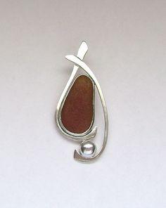 Sea Glass Jewelry - Sterling Brown Sea Glass Pendant