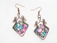 Wire wrapped copper wire earrings Handmade earrings with unique design, beautiful earrings are made of copper wire and mosaic magnesite.