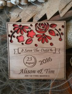 Wood Save-The-Date Magnets / Engraved Wooden Wedding magnets / Laser Cut Rustic Handmade Save the Date  by AmazingWoodCraft  $1.70