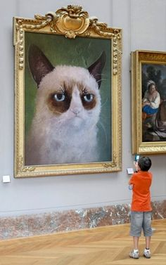 Grumpy Cat Portrait on Display at Art Museum: Grumpy Cat is now an art masterpiece on display at the museum! The finest grumpy cat portrait framed in gold on ex I Love Cats, Cute Cats, Funny Cats, Funny Animals, Cute Animals, Adorable Kittens, Meme Grumpy Cat, Cat Memes, Funny Memes
