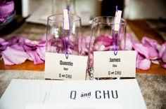 personalized favors & escort cards | purple wedding | Quentin & James' personalized, DIY intimate Washington DC wedding | Images: Robin Shotola Photography
