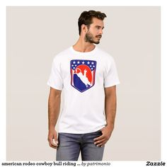 american rodeo cowboy bull riding shield T-Shirt. Men's t-shirt designed with an illustration of an American rodeo cowboy bull riding set inside a shield with stars and stripes. #tshirt #rodeo #bullriding #cowboy