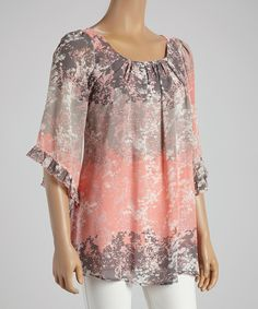 This Lady Noiz Pink & Gray Floral Tunic - Women by Lady Noiz is perfect! #zulilyfinds