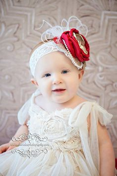 All that Glitters IS Gold Headband -Fancy Christmas Headband - Red and Gold Headband - Over the Top Headband Bow