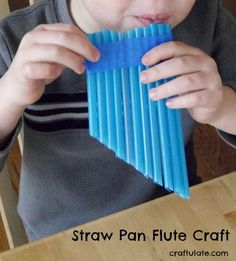 Fun for Kids Straw Pan Flute Craft - an easy craft that kids can make on their own! Buying Gently Us Summer Crafts For Toddlers, Easy Toddler Crafts, Arts And Crafts For Adults, Arts And Crafts House, Easy Arts And Crafts, Crafts For Seniors, Crafts For Boys, Arts And Crafts Projects, Straw Projects