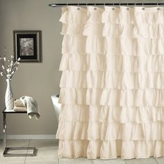 House Of Hampton Galion Ruffled Semi Sheer Shower Curtains Color Beige