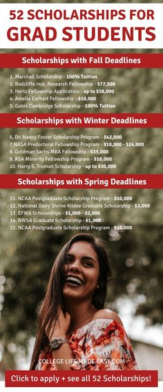 Scholarships for Graduate Students to Cash In On Yessss! 52 scholarships just for grad students! Get that free money to pay for school! 52 scholarships just for grad students! Get that free money to pay for school!