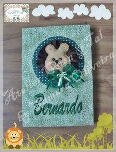 Caderninho de mensagens para o chá de bebê do Bernardo.