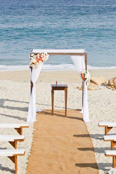 Pretty beach wedding ceremony set up