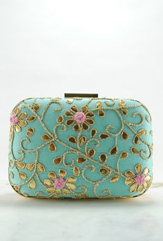 Turquoise Pink Gotta Patti Clutch Gotta Patti Clutch bag is perfect for any…