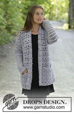 Women - Free knitting patterns and crochet patterns by DROPS Design Pull Crochet, Gilet Crochet, Crochet Coat, Crochet Shawl, Crochet Clothes, Crochet Lace, Free Crochet Jacket Patterns, Crochet Cardigan Pattern, Lace Patterns