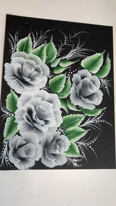 Acrylic Painting Flowers, Paintings Of Flowers, Painting On Black Canvas, Watercolor Flowers, Watercolor Paintings, Easy Flower Painting, Peony Painting, Flower Painting Canvas, How To Paint Flowers