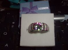 LOOK!!!! A BEAUTIFUL STERLING AND BGF OVERLAY RAINBOW TOPAZ AND WHITE FIRE OPAL RING SIZE 7