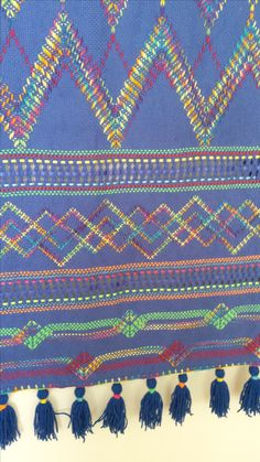 swedish weaving on berry blue monks cloth