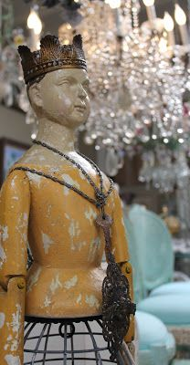 embellished santos cage doll- assembled torso onto a wire birdcage- White Horse Relics