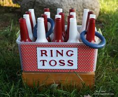 Looking for summer fun for both young and old? Ring Toss anyone. Painted recycled bottles, Iron-on Embroidered letters, and painted rings made from Smoothfoam Carnival Themed Party, Circus Party, Birthday Party Themes, Circus Birthday, Kids Carnival, Carnival Games, Diy Crafts To Do, Kids Crafts, Backyard Games