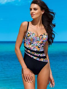 8beb25d0beb Floral Spaghetti Straps One Piece Swimwear. ワンピースの水着大きいサイズの水着ビキニ ...